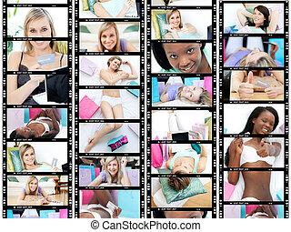 collage, de, plusieurs, jeunes femmes, sourire