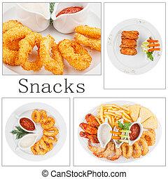 collage, de, restauration rapide, produits