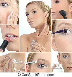 collage, de, un, mujer, aplicación de maquillaje