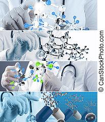 collage, de, vario, moderno, concepto médico