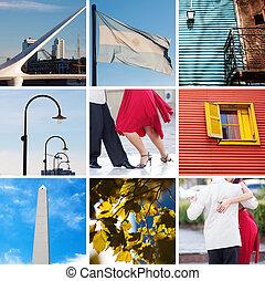 collage, de, vues, et, traditions, de, buenos aires