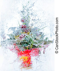 Collage . delicate bouquet of flowers in the ice