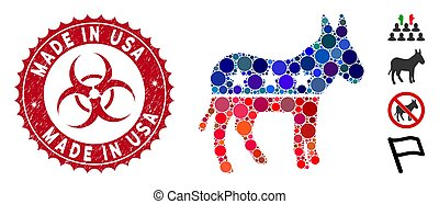 Collage Democratic Donkey Icon with Grunge Made in USA Stamp