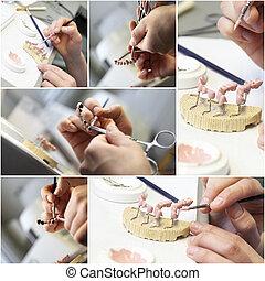 collage, dentaal, voorwerpen, tandarts