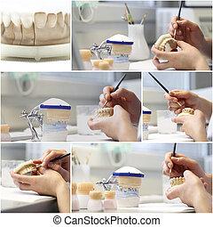 collage, dental, objekt, tandläkare