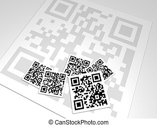 A collage design of many generic QR Codes. QR Codes have information encoded in their pattern that can be plain text, a URL, a phone number, an email address, or other data. They are now being used for marketing, retail, informational help, etc., targeted to modern mobile smartphone users. All in ...