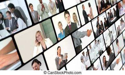 collage, di, affari, videi