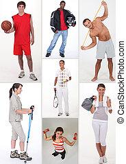 collage, di, atletico, persone