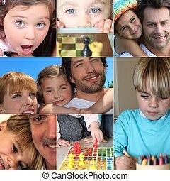 collage, di, bambini