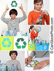 collage, di, bambini, riciclaggio