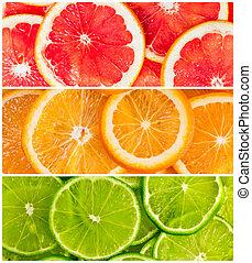collage, di, citrus-fruit