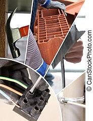 collage, di, costruzione, materiali