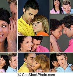 collage, di, couples