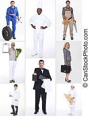 collage, di, differente, occupazioni