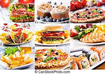collage, di, fast food, producrs
