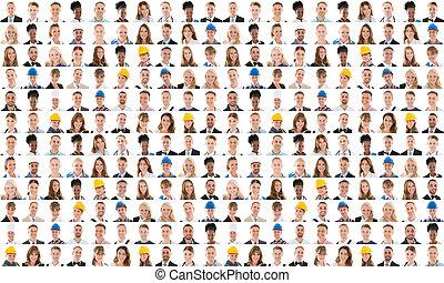 collage, di, felice, persone, con, vario, occupazione