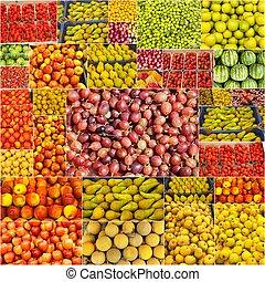 collage, di, frutte