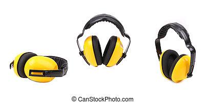 collage, di, giallo, orecchio, muffs.