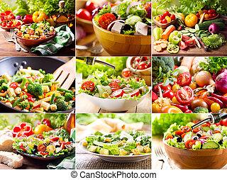 collage, di, insalate