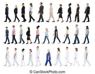 collage, di, persone camminando, linea