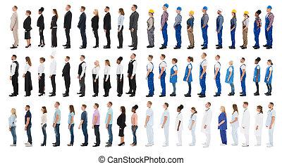 collage, di, persone, levandosi piedi linea