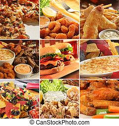collage, di, pub, cibo.