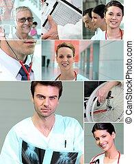 collage, di, sanità, scene