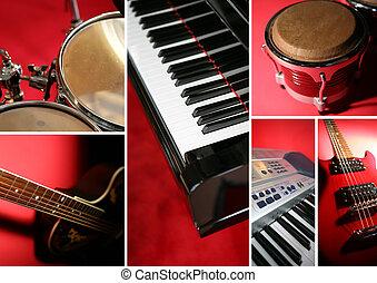 collage, di, strumenti musicali