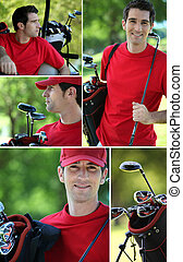 collage, di, uno, golfista