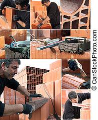 collage, di, uno, muratore