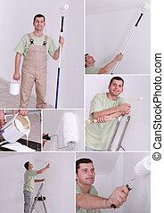 collage, di, uno, pittore