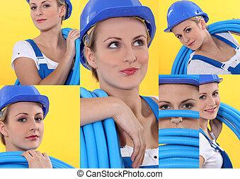 collage, di, uno, tradeswoman