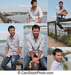 collage, di, uno, uomo, su, uno, banchina