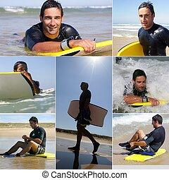 collage, di, uno, uomo, surfing