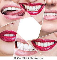 collage, diaframma, sano, forma, sorriso