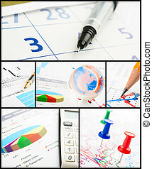 collage, diagramme, business