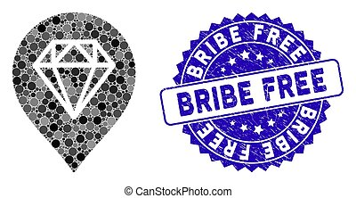 Collage Diamond Map Marker Icon with Grunge Bribe Free Stamp