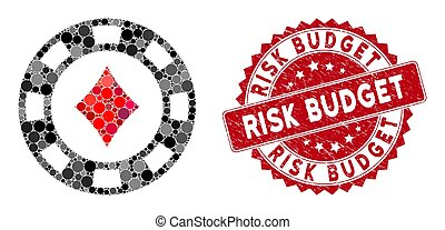 Collage Diamonds Casino Chip with Scratched Risk Budget Stamp