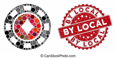 Collage Diamonds Casino Chip with Textured By Local Seal