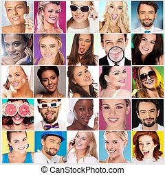 collage, diferente, caras, gente