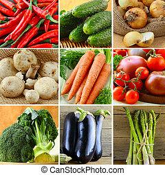 collage, diferente, vegetales