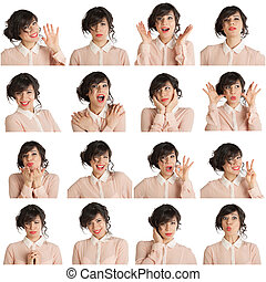 collage, différent, femme, expressions, facial