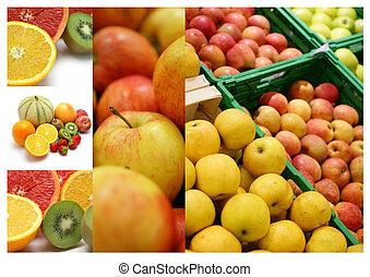 collage, differente, frutte