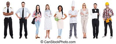 collage, differente, occupazione, occupations., persone