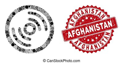 Collage Disc with Scratched Afghanistan Stamp