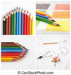 collage, diseño, lápices, colorido, su