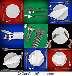 Collage- dishware on multicolour background.