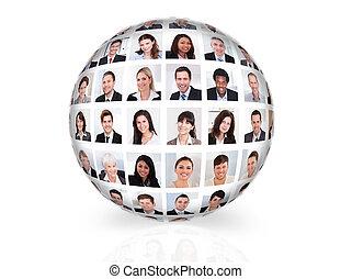 collage, diverso, empresarios