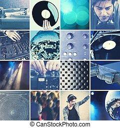 collage, dj, musik, leka