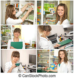 Collage. Doctor at pharmacy